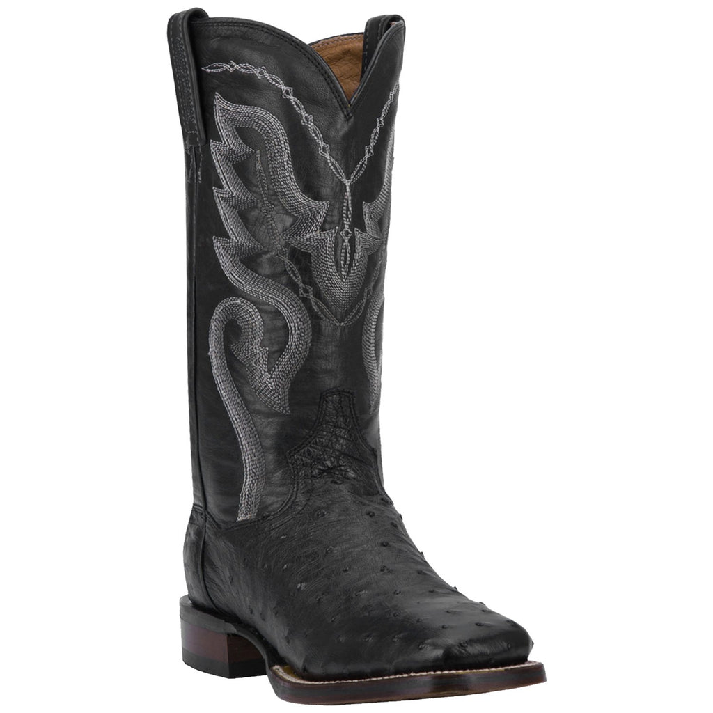 "DAN POST DP2980 13"" CHANDLER BLACK FULL QUILL OSTRICH BOOT WIDE SQUARE TOE"