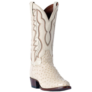 "DAN POST DP3015 13"" PERSHING WINTER WHITE FULL QUILL OSTRICH R TOE BOOT"