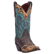 "Women's Dan Post DP3544 11"" Chocolate/Teal Vintage Bluebird Snip Toe"
