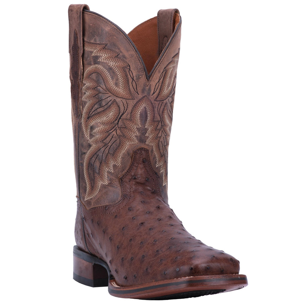 "DAN POST DP3875 11"" ALAMOSA CHOCOLATE FULL QUILL OSTRICH WIDE SQUARE TOE BOOT"