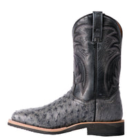 "DAN POST DP3984 11"" PHILSGOOD GREY FULL QUILL OSTRICH WIDE SQUARE TOE BOOT *CLOSEOUT*"