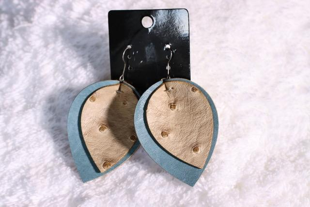Double Leather Blue-Antique Ostrich Print Earring ERZ180825-31