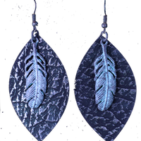 Leather Oval Earring w/Feather ERZ180905-24