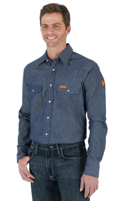 WRANGLER FR12127 MEN'S DENIM FR FLAME RESISTANT TWILL LONG SLEEVE WORK SHIRT