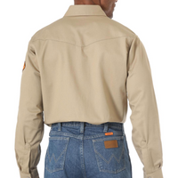 WRANGLER FR12140 MEN'S KHAKI FR FLAME RESISTANT TWILL SOLID LONG SLEEVE WORK SHIRT