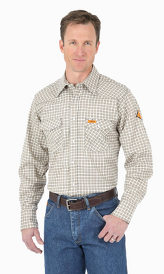 WRANGLER FR124MM MEN'S PLAID FR FLAME RESISTANT LIGHT WEIGHT LONG SLEEVE WORK SHIRT