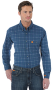 WRANGLER FR133RB MEN'S PLAID FR FLAME RESISTANT LONG SLEEVE WORK SHIRT