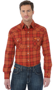 WRANGLER FR135OR MEN'S PLAID FR FLAME RESISTANT LONG SLEEVE WORK SHIRT