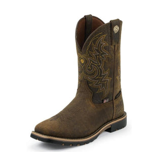"Justin GS9050 11"" H20 Weathered Bark Crazyhorse Wide Square Toe"