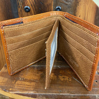 Manufacturers Direct 6503-3L.BR Light Brown Bifold Rooster Wallet with Turquoise Inlay