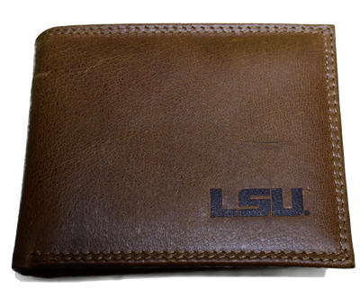 Zep-Pro IWS1TAN-LSU Tigers Tan Leather Bi-fold Wallet