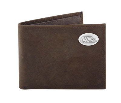 "Ole Miss Bi-fold Brown ""Crazy Horse"" Leather Wallet"
