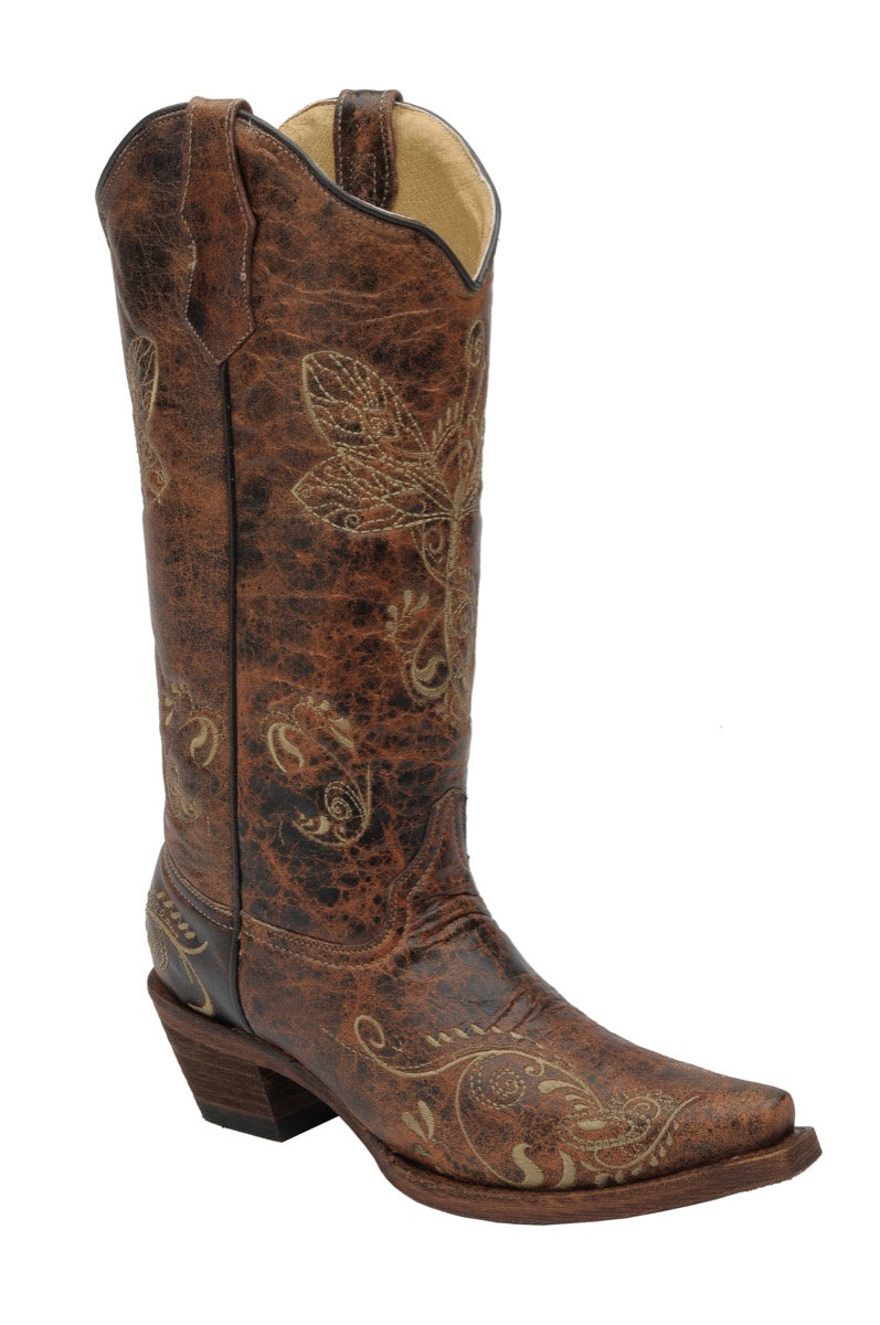 "Women's Circle G by Corral L5001 13"" Distressed Brown-Bone Dragonfly Embroidery Snip Toe"