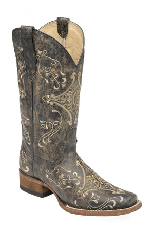 "Women's Circle G by Corral L5078 11"" Brown Crackle/Bone Embroidery Square Toe"