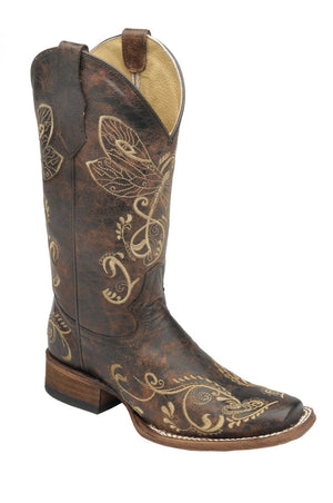 "Women's Circle G by Corral L5079 11"" Distressed Brown-Bone Dragonfly Embroidery Square Toe (Online Only)"