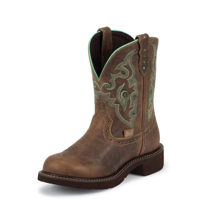 "Women's Justin L9606 8"" Tan Jaguar Gypsy Round Toe"