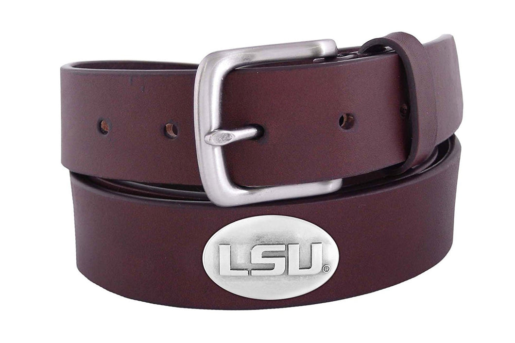 Zep-Pro Over-Sized LSU Brown Leather Belt