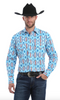 WRANGLER MC1239M MEN'S CHECOTAH® BLUE DRESS LONG SLEEVE SHIRT *Closeout*
