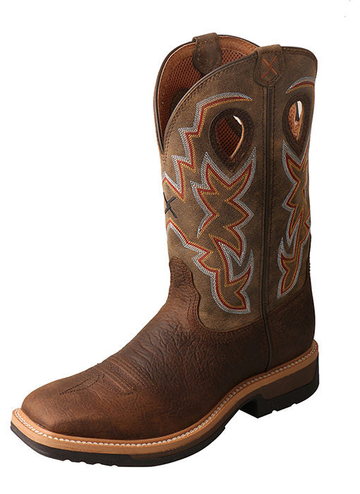 "Twisted X MLCA001 Men's 12"" Alloy Toe Lite Western Work Boot Taupe/Bomber"