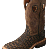 "Twisted X MLCW023 Men's 12"" Lite Western Work Boot Caiman Print/Bomber"