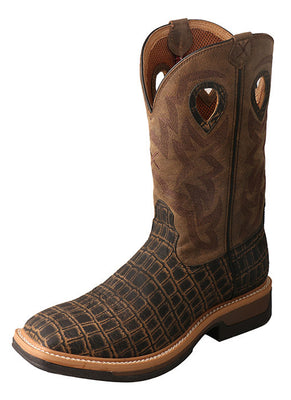 Twisted X MLCW023 Men's Lite Western Work Boot Caiman Print/Bomber