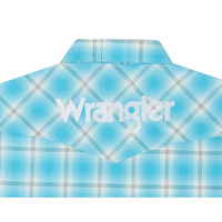 WRANGLER MP2353M MEN'S TURQUOISE/WHITE LOGO LONG SLEEVE SHIRT