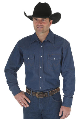 WRANGLER MS70119 MEN'S DENIM COWBOY CUT® FIRM FINISH LONG SLEEVE WESTERN SNAP SOLID WORK SHIRT