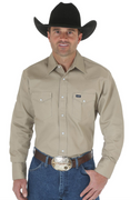 WRANGLER MS70319 MEN'S KHAKI COWBOY CUT® FIRM FINISH LONG SLEEVE WESTERN SNAP SOLID WORK SHIRT