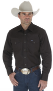 WRANGLER MS70819 MEN'S BLACK COWBOY CUT® FIRM FINISH LONG SLEEVE WESTERN SNAP SOLID WORK SHIRT