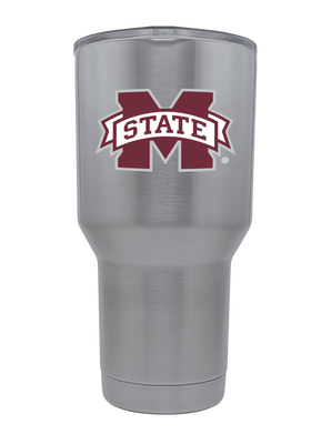 Mississippi State 30oz. Silver Stainless Steel Tumbler