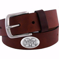Zep-Pro Mississippi State University (MSU) Over-Sized Brown Leather Belt
