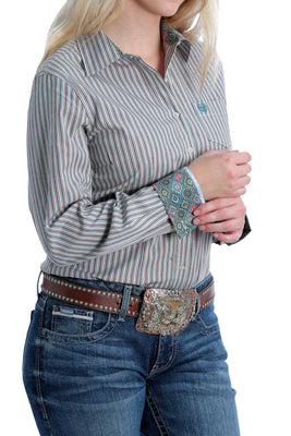 Women's Cinch MSW9164162 Plain Weave Stripe Long Sleeve Shirt