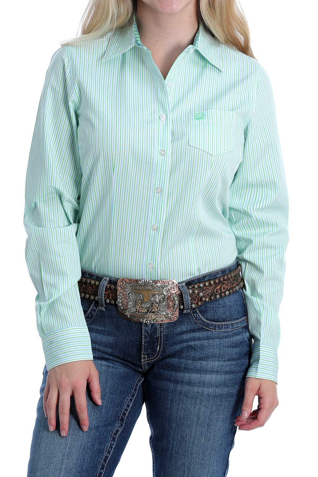 Women's Cinch MSW9164165 Green, Blue, and White Stripe Print Button-Down Western Shirt