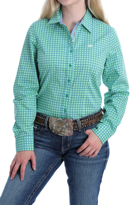 Women's Cinch MSW9165004 Green, Blue, and White Diamond Print Button-Down Western Shirt