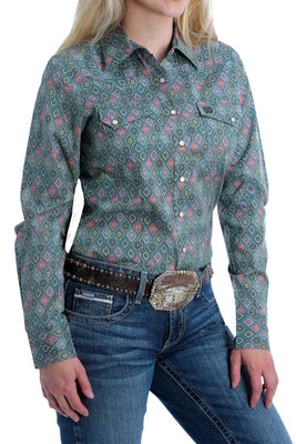 Women's Cinch MSW9201018 Plain Weave Print Long Sleeve Shirt