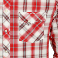 WRANGLER® MVG232M - FASHION SNAP LONG SLEEVE SHIRT RED/WHITE