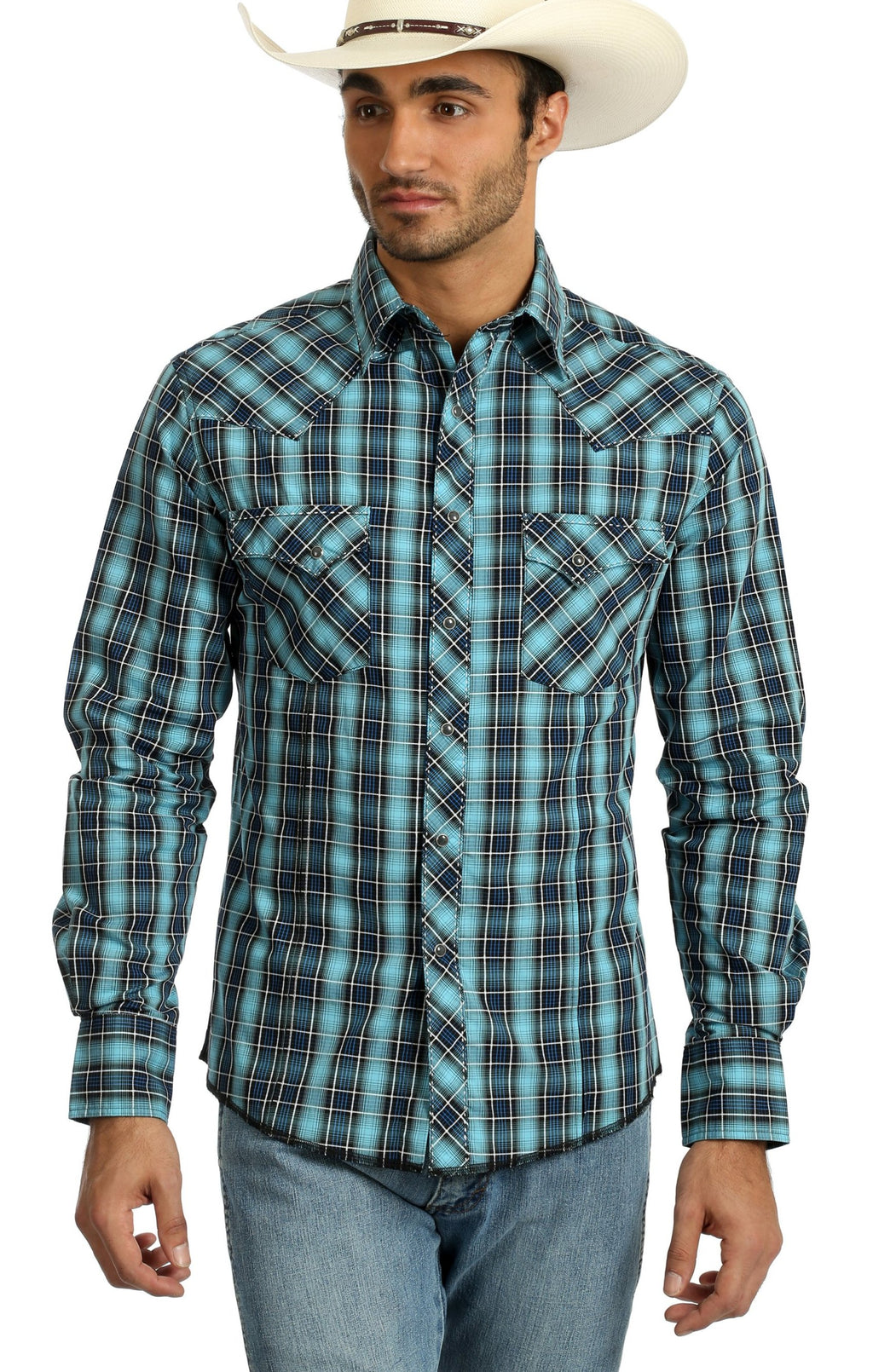 WRANGLER® MVG234M - FASHION SNAP LONG SLEEVE SHIRT BLUE/BLACK