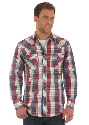 WRANGLER MVR408M MEN'S BLUE/RED RETRO® LONG SLEEVE WESTERN SNAP PLAID SHIRT