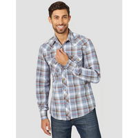 WRANGLER MVR491M MEN'S BROWN/NAVY RETRO® LONG SLEEVE WESTERN SNAP PLAID SHIRT