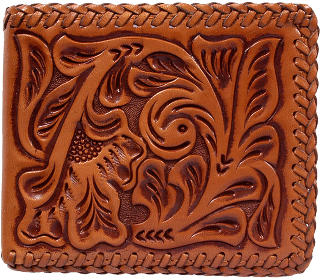 3D DAW117 NATURAL/COGNAC FLORAL TOOLED BIFOLD