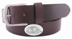 Zep-Pro Over-Sized Ole Miss Brown Leather Belt