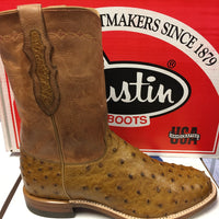 Justin Exclusive P00444 Tan Full Quill Ostrich Round Roper Toe