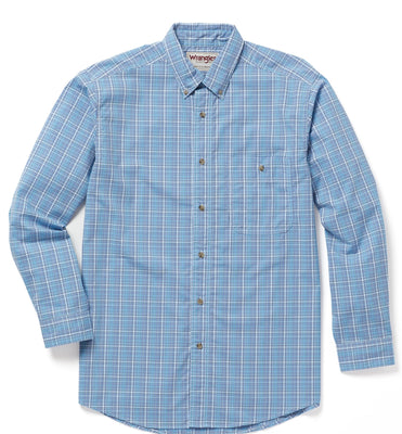 WRANGLER® RWWL1MB - RUGGED WEAR® WRINKLE RESIST LONG SLEEVE PLAID SHIRT - MULTI BLUE