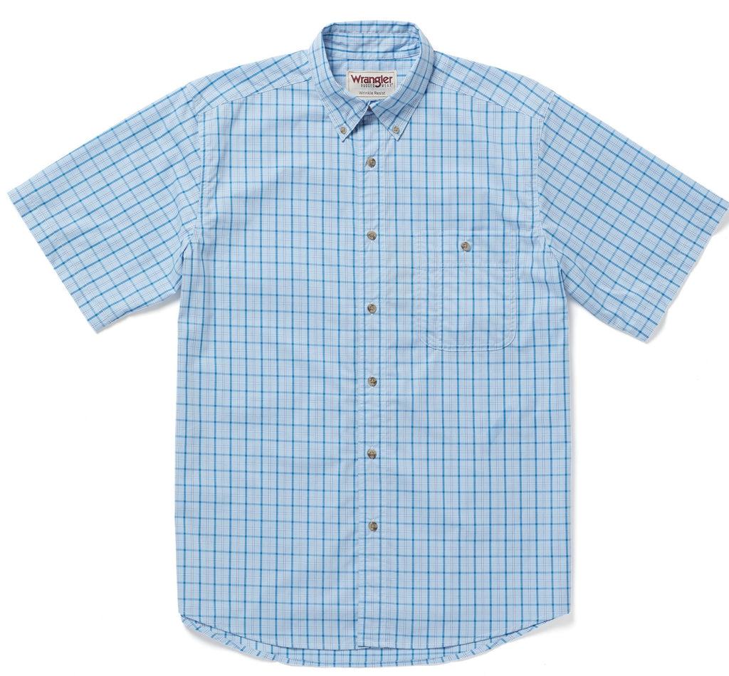 WRANGLER® RWWS1BL - RUGGED WEAR® WRINKLE RESIST SHORT SLEEVE SHIRT PLAID SHIRT- BLUE