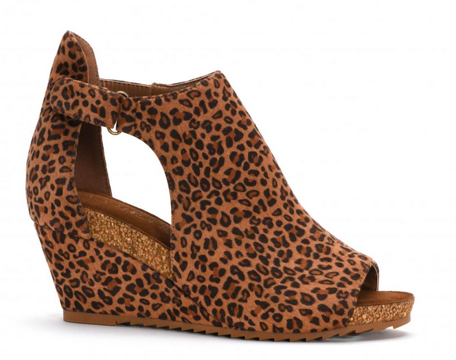 Corkys 30-5373-SMLP Leopard Wedge Shoe