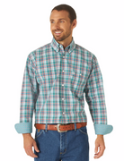 WRANGLER® MGSQ798 MEN'S TEAL GEORGE STRAIT LONG SLEEVE BUTTON DOWN SHIRT
