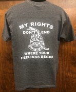 "2nd Amendment 20257GREY ""Rights Don't End"" Heather Grey Short Sleeve T-Shirt"