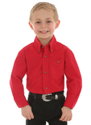 WRANGLER BG274RD BOY'S RED CLASSIC BUTTON DOWN SOLID SHIRT