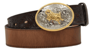"3D D4204 Children's 1 1/4"" BROWN DISTRESSED W/FLORAL ENDS BULLRIDER"