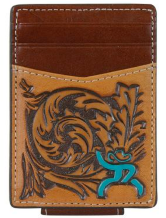 Hooey 1781462MTQ ROUGHY SIGN MAGNETIC MONEY CLIP CARD WALLET TOOL, TURQUOISE LOGO